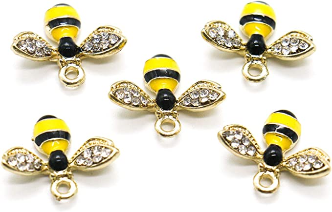 4 Bee Charms Gold Tone With Inset Rhinestones GC731