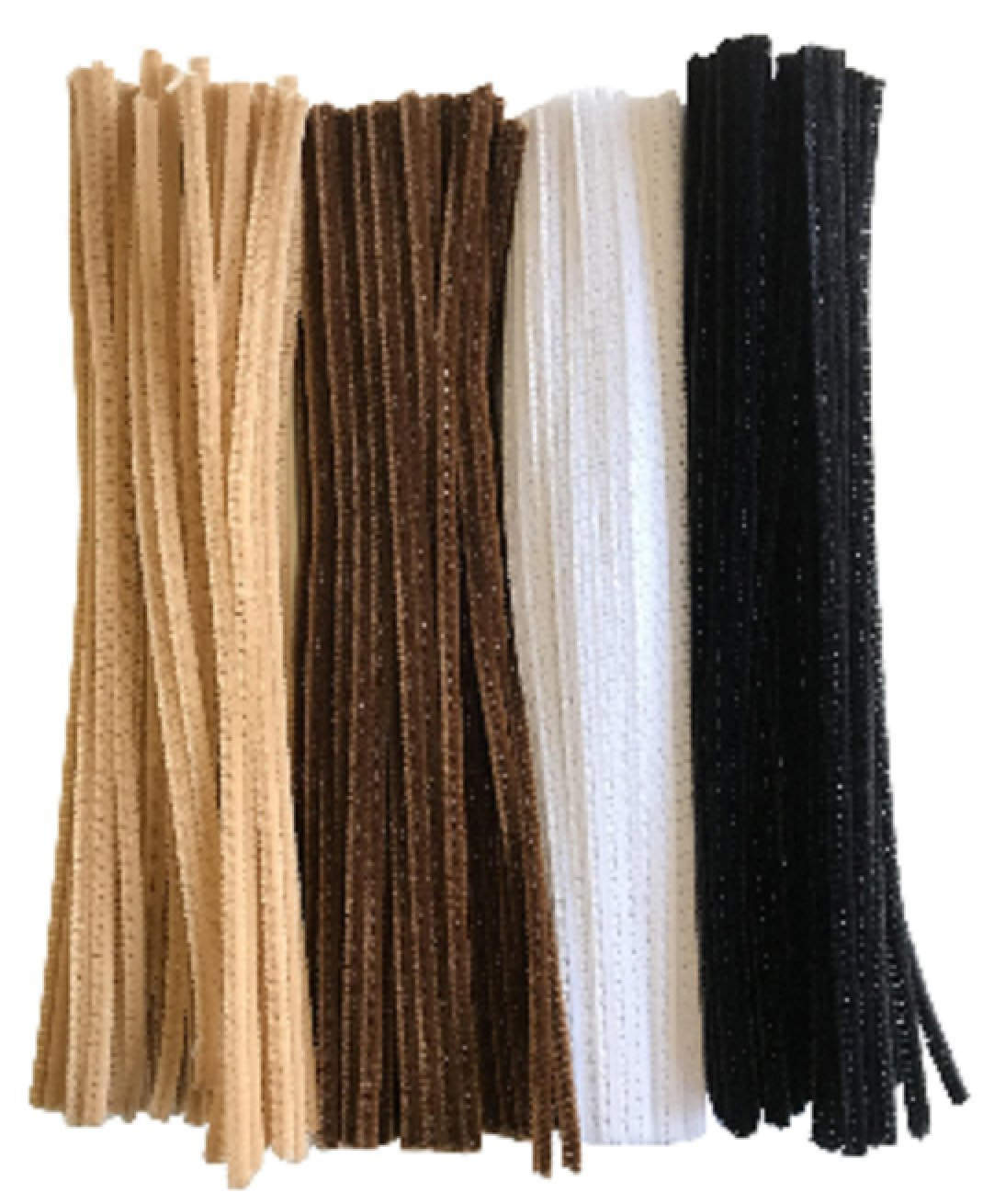 Kids B Crafty 100 Chenille Craft Pipe Cleaners 29cm x 6mm Brown White Black Flesh