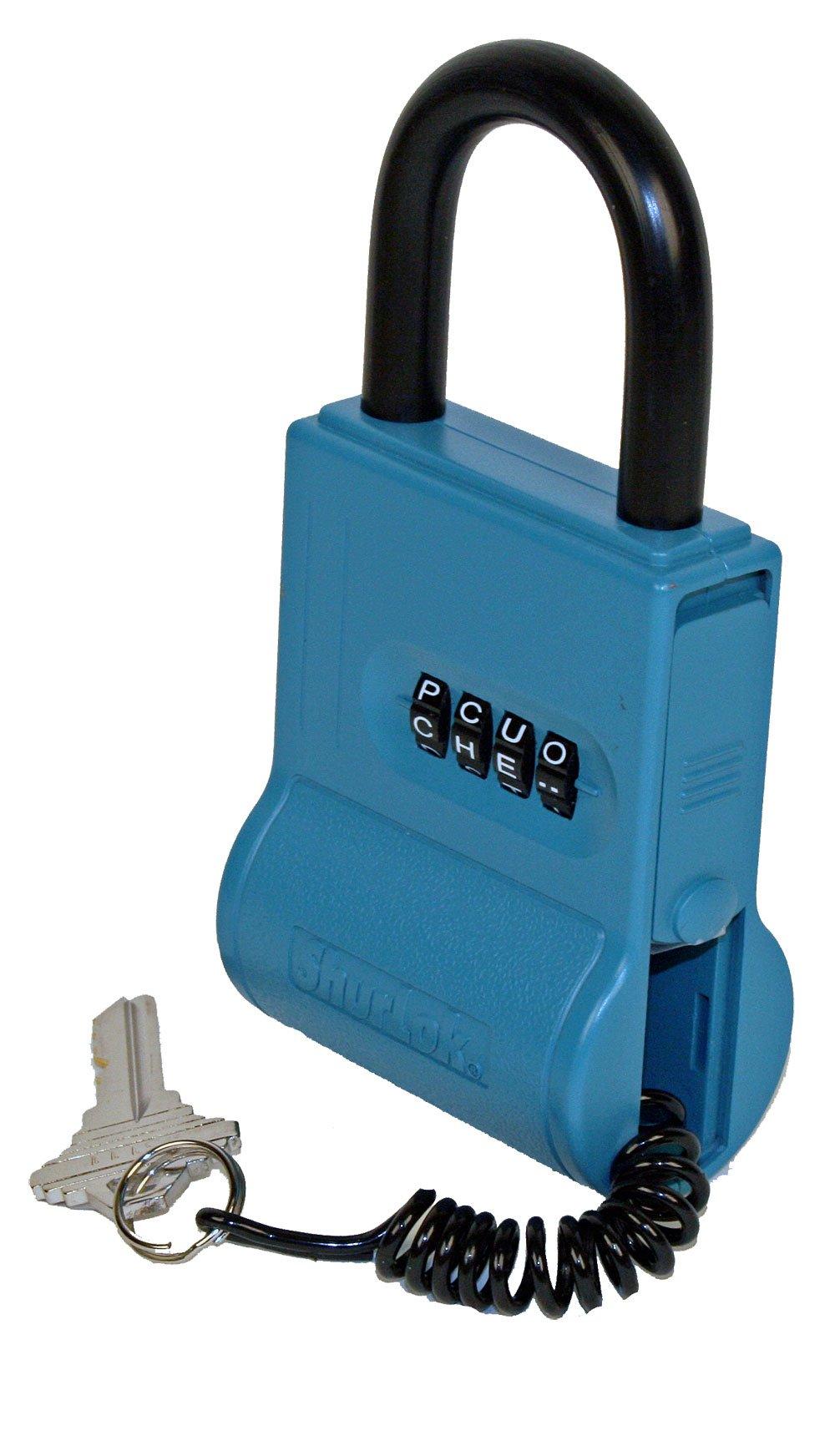 ShurLok SL-100-NDE-C 4 Dial Lettered Key Storage Combination Lock Box, Blue