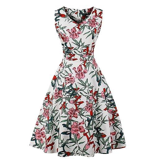 05e4a8c53a7b GAESHOW Women 1950s Vintage V-Neck Green Leaf Safflower Print A-line  Sleeveless Party