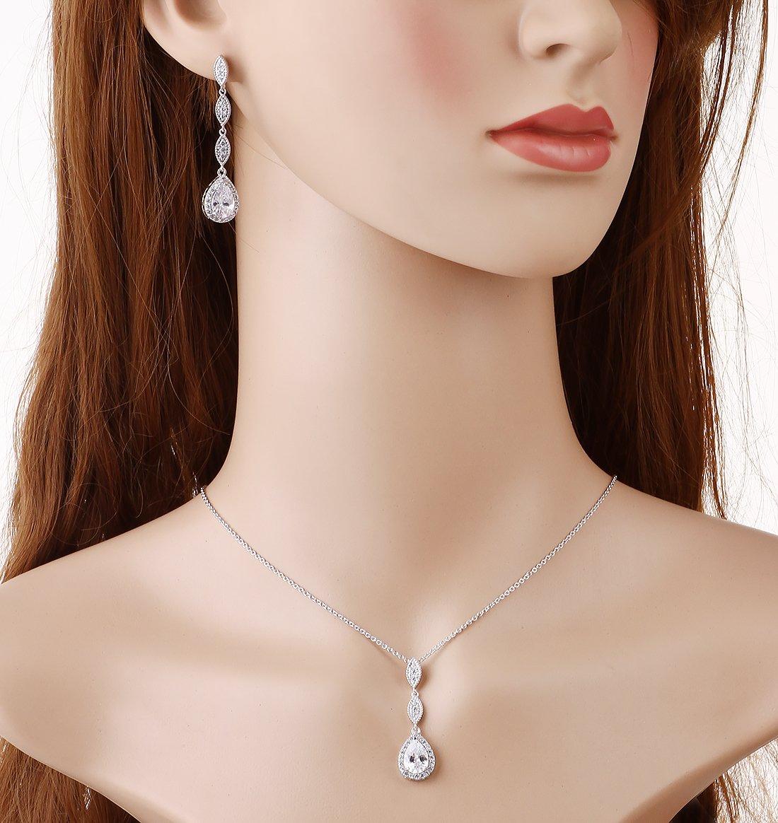 Wordless Love Teardrop Pear Shape CZ Necklace Pierced Earrings Women Wedding Jewelry Sets by Wordless Love (Image #4)