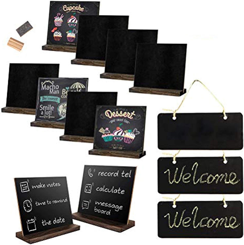 15PCS Chalkboard Signs Set, Mini Tabletop Chalkboard Signs & Chalkboard Hanging Signs & Chalkboard Eraser for Wedding, Bar, Restaurant, Kitchen Pantry & Wall Decor