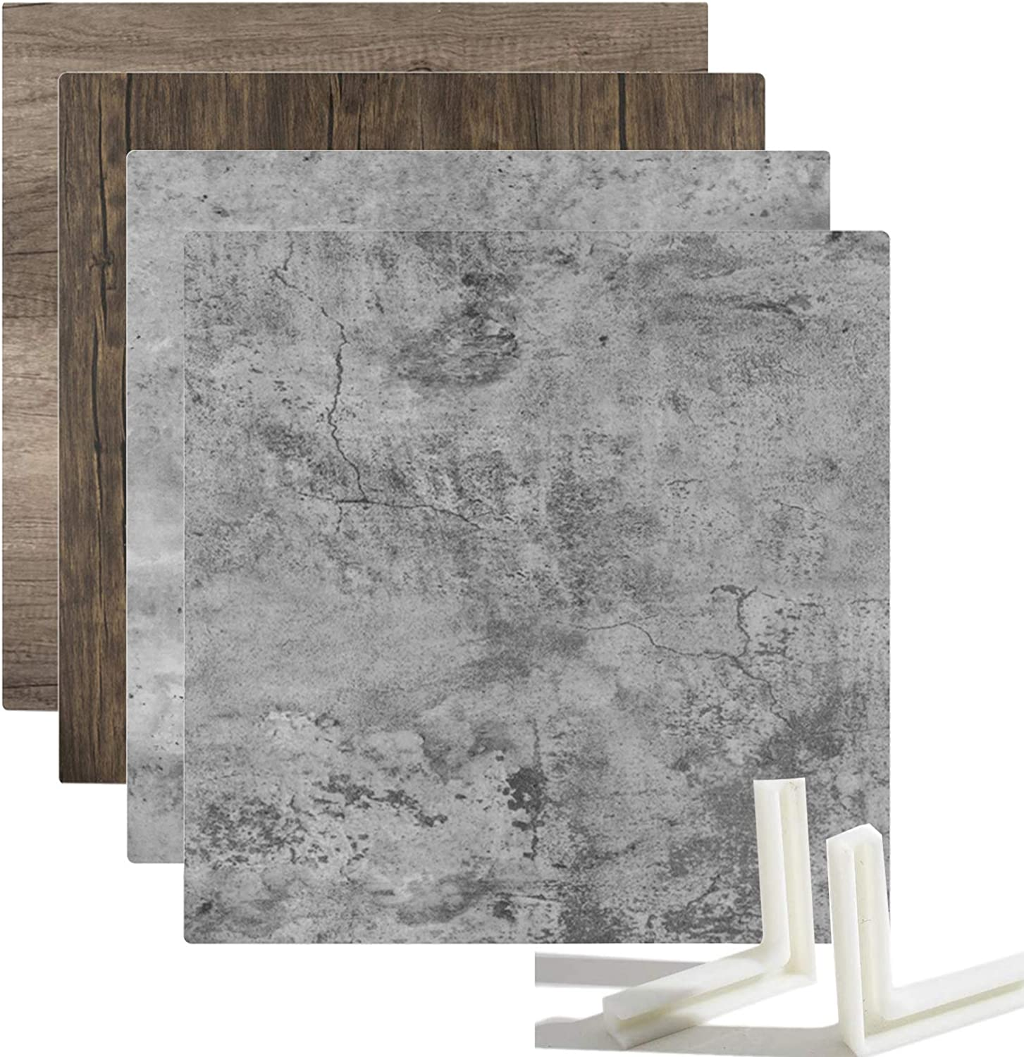 Youngerfoto 2 PCS Photo Backdrop Boards Kit, 24x24in Double Sided Wood Cement Texture Food Backdrops Tabletop Flat Lay Photography Backgrounds for Jewelry Cosmetics Small Product Props