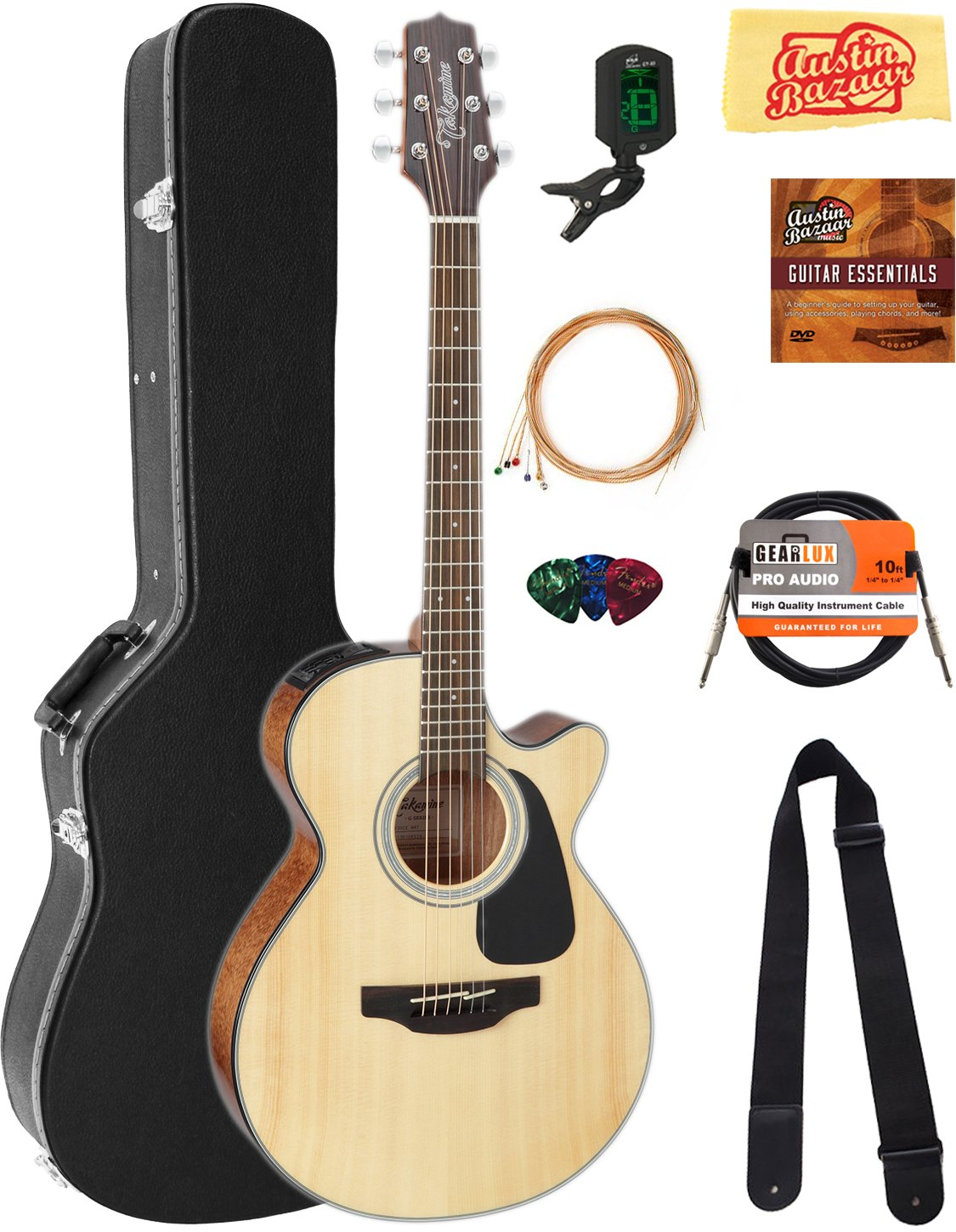 Takamine GF30CE FXC Cutaway Acoustic-Electric Guitar - Natural Bundle with Hard Case, Cable, Tuner, Strap, Strings, Picks, Austin Bazaar Instructional DVD, and Polishing Cloth by Takamine