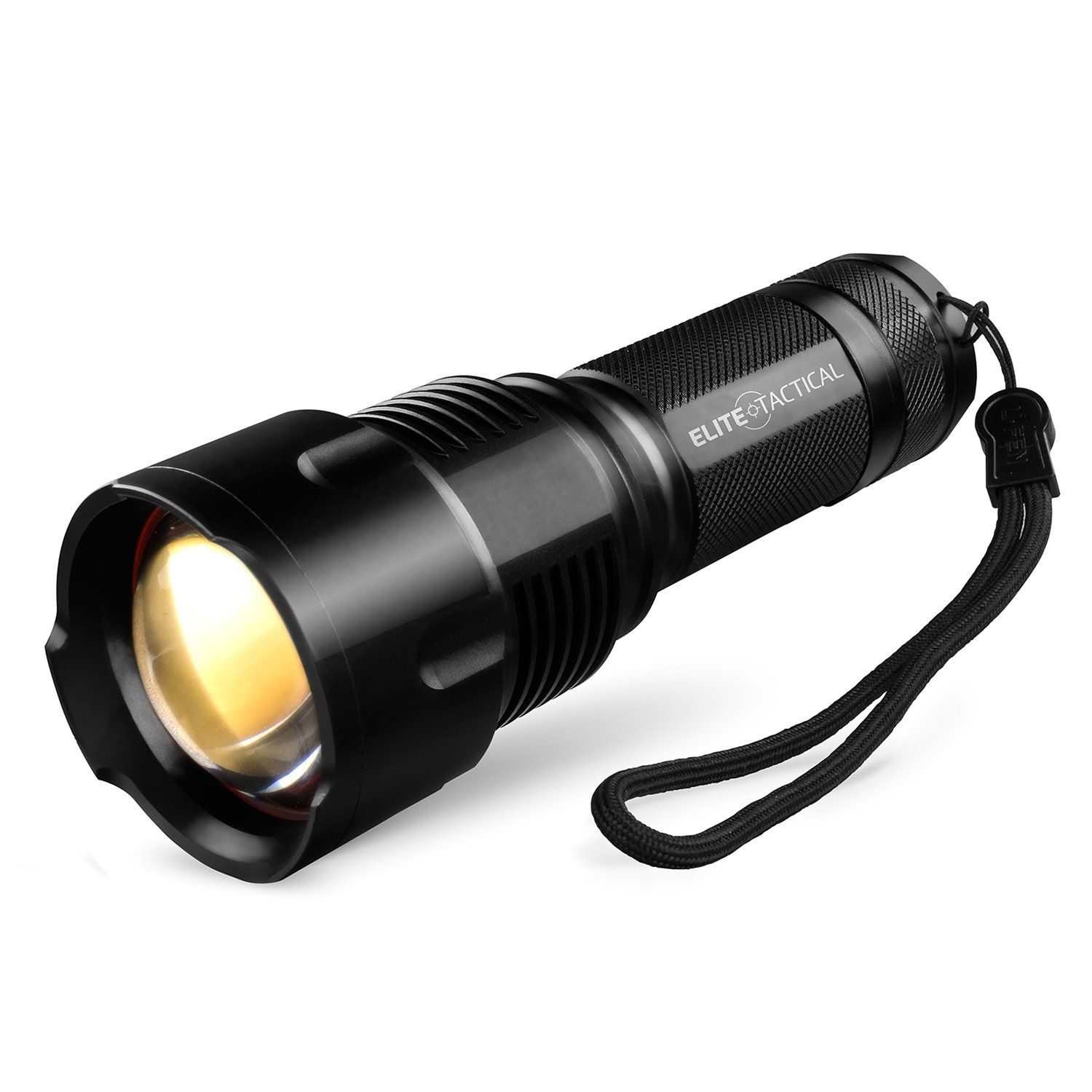 Pro 300 Series Tactical Flashlight by Elite Tactical - Waterproof 1200 Lumen CREE LED Military Grade Search Light w/ Zoom for Brightest Spot Light and Flood Light - Black