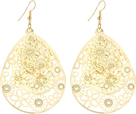 IDB Delicate Filigree Large Diamond Shape Dangling Drop Hook Earrings Available in Silver and Gold Tones