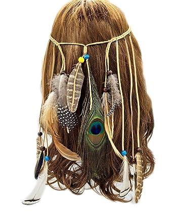 Amazon.com: Boho de plumas tocado diadema Headwear de boda ...