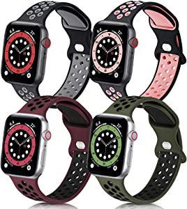 GROGON Compatible with Apple Watch Bands 44mm 42mm 40mm 38mm for Men Women, 4 Pack Silicone Sport Waterproof Breathable Soft Replacement Strap for iWatch SE Series /6/5/4/3/2/1(42mm 44mm,No.3)
