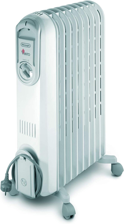 Delonghi Vento V550920 Radiador De Aceite, 2000 W, 3 Velocidades, Acero Inoxidable, Blanco