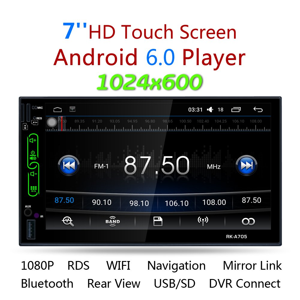 LSLYA 7' Android 6.0 Quad Core HD Capacitive Touch Screen Double 2 Din Car Radio Stereo player Support Bluetooth 1080P/4K Auto GPS Navigation Head Unit Car video Reverse Camera