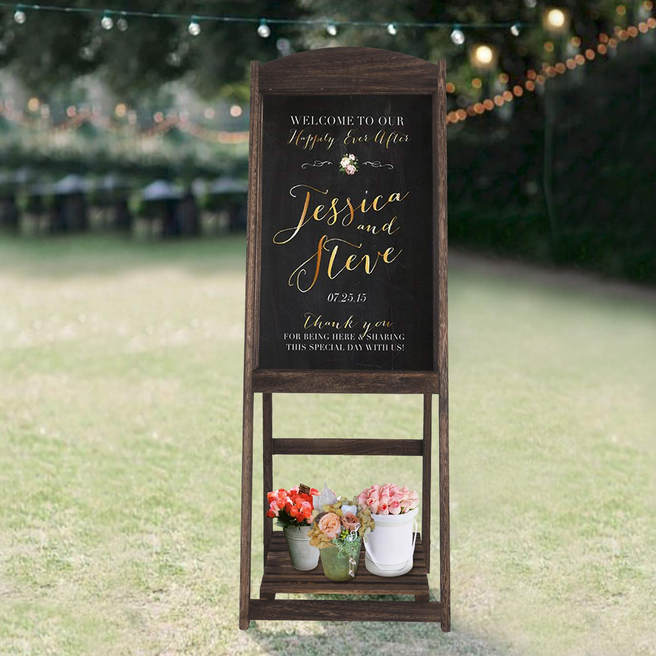 RHF Wedding Chalkboard Signs,Rustic Wedding Decorations,A-frame Easel Chalkboard Sign with Display Shelf,Vintage Large Chalkboard Easel, Freestanding ...