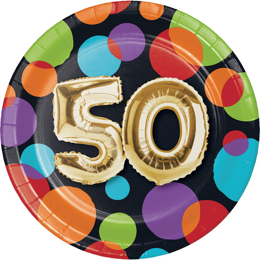 Pack of 96 Vibrantly Colored Dots with Metallic Gold''50'' Birthday Balloon Luncheon Plate 6.8''