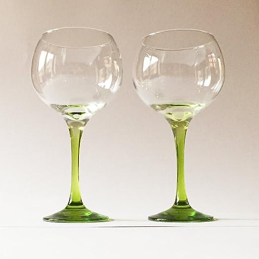 Vasos de ginebra | grande 790 ml Copa de balon | tallo verde ...