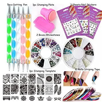 LoveOurHome Nail Art Tools Equipment Stamping Templates Plate Rhinestones Decorations Dotting Pen Sticker Decal Manicure