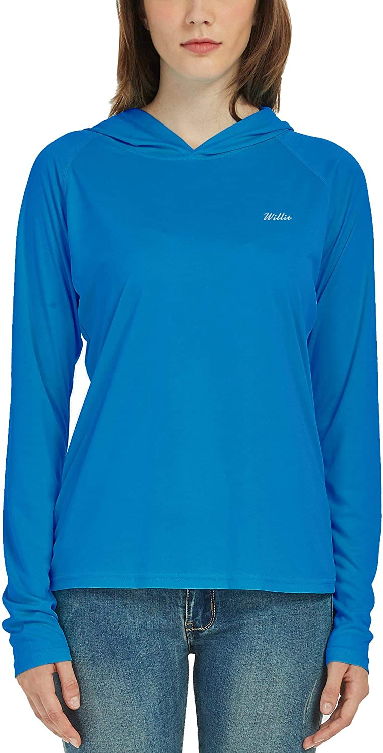 Willit Womens UPF 50 Sun Protection Hoodie Shirt Long Sleeve SPF UV Top Lightweight Quick Dry