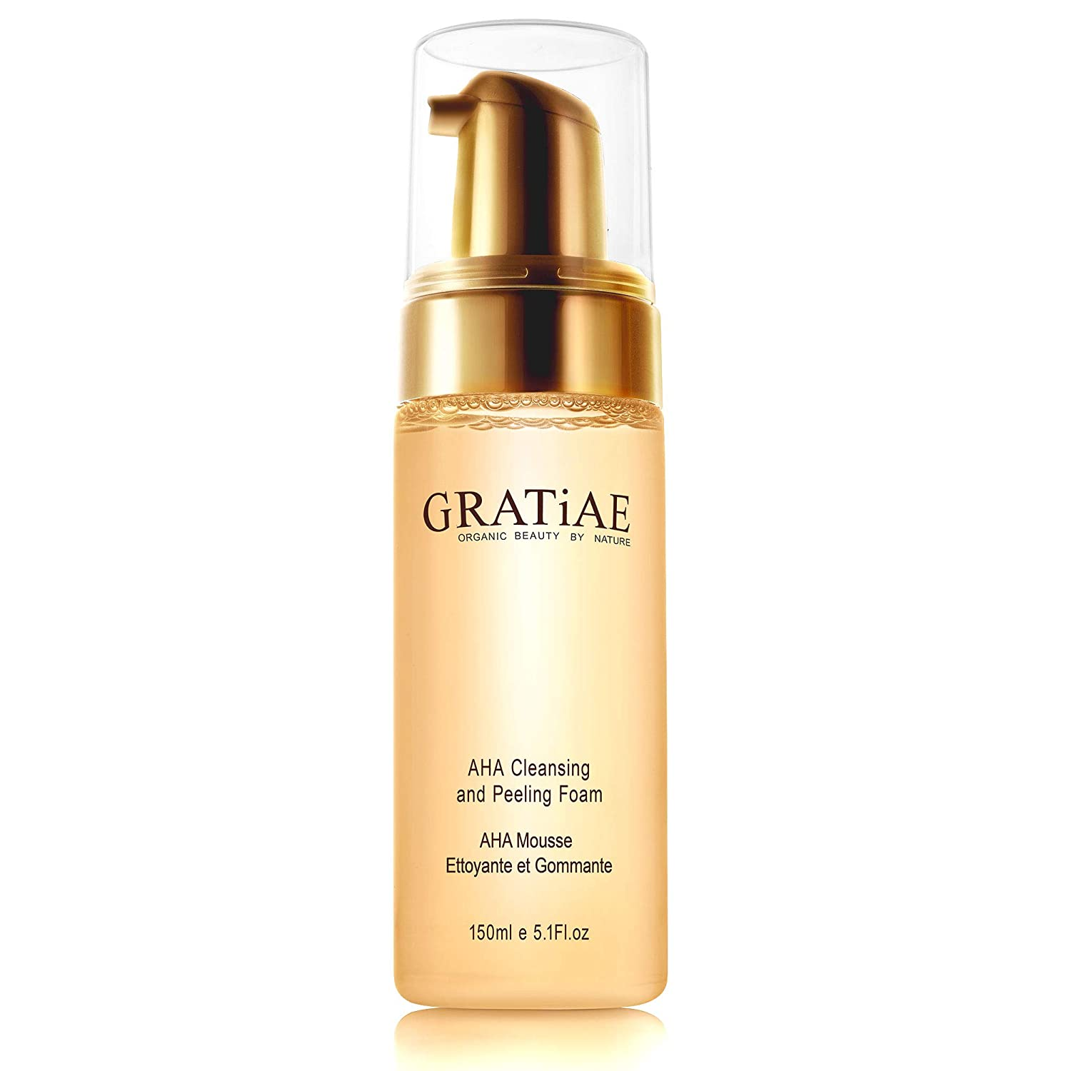 Gratiae Organics AHA facial Cleanser and Peeling Foam, Anti-Aging, Breakout & Blemish, Wrinkle Reducing, Gel Face Wash - Clear skin Oily, Dry & Sensitive Skin with Organic & Natural Ingredients 5.1 fl