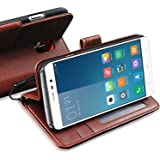 XIAOMI Mi 5 Mi5 Rich Leather Stand Wallet Flip Case Cover Book Pouch / Quality Slip Pouch / Soft Phone Bag (Specially Manufactured - Premium Quality) Antique Leather Case With Touch Stylus Pen Brown