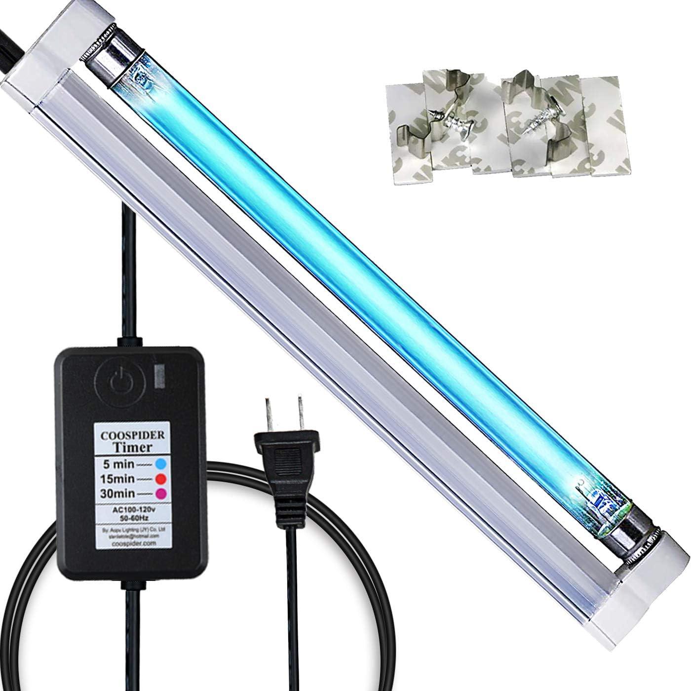 U/V Ozone Lamp U/V/C Light Bulb Quartz Lamp Household 6W Timer 5/15/30 Minutes Control for Closet, Kitchen, Bathroom, loft, Basement
