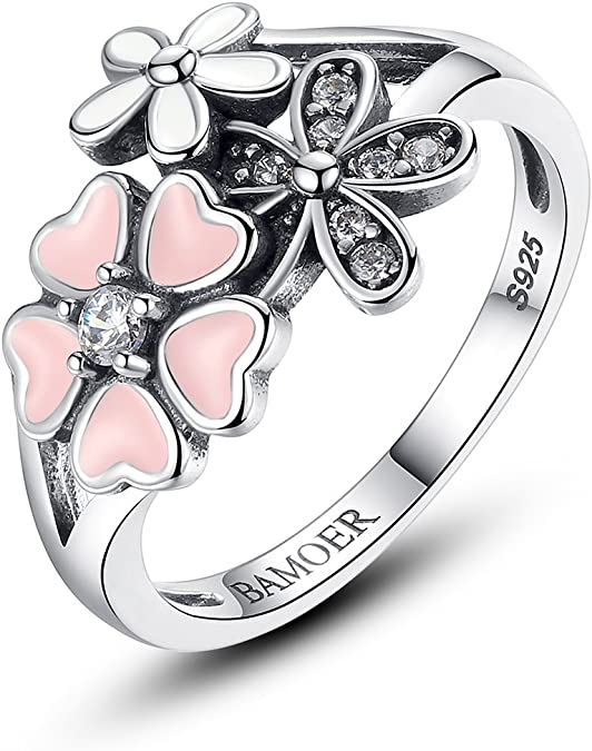Bamoer 925 Sterling Silver Rings Pink White Enamel Cherry Blossom Flower Ring For Women Anniversary Ring Size 6 7 8 9 Jewelry Amazon Com
