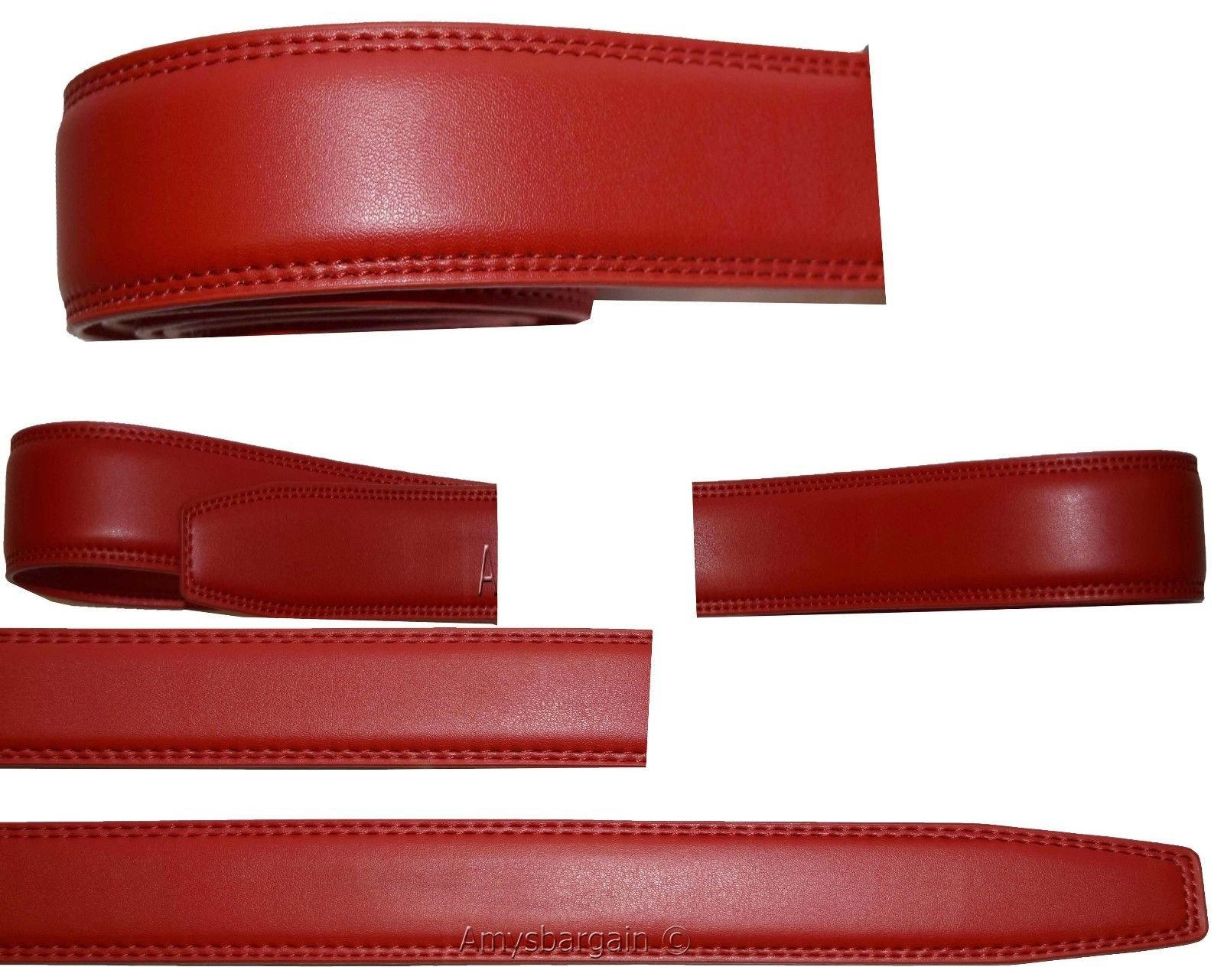 Women/Men's Leather belt strap only Replacement strap for Auto-lock buckle 1.10'' (Red, 27-28)