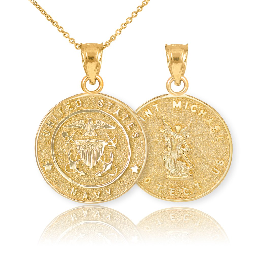 Fine 14k Yellow Gold St Michael Medal Protection Charm US Navy Reversible Pendant Necklace, 22''