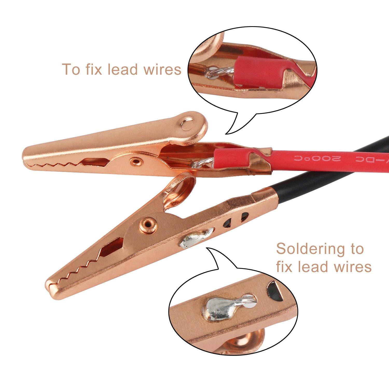 Droking 10 fils dessai /électriques de double extr/émit/é de crocodile de PCS connecte les connecteurs de fil de cuivre isol/és /à 100cm Le c/âble /électrique de pinces dalligator 8A