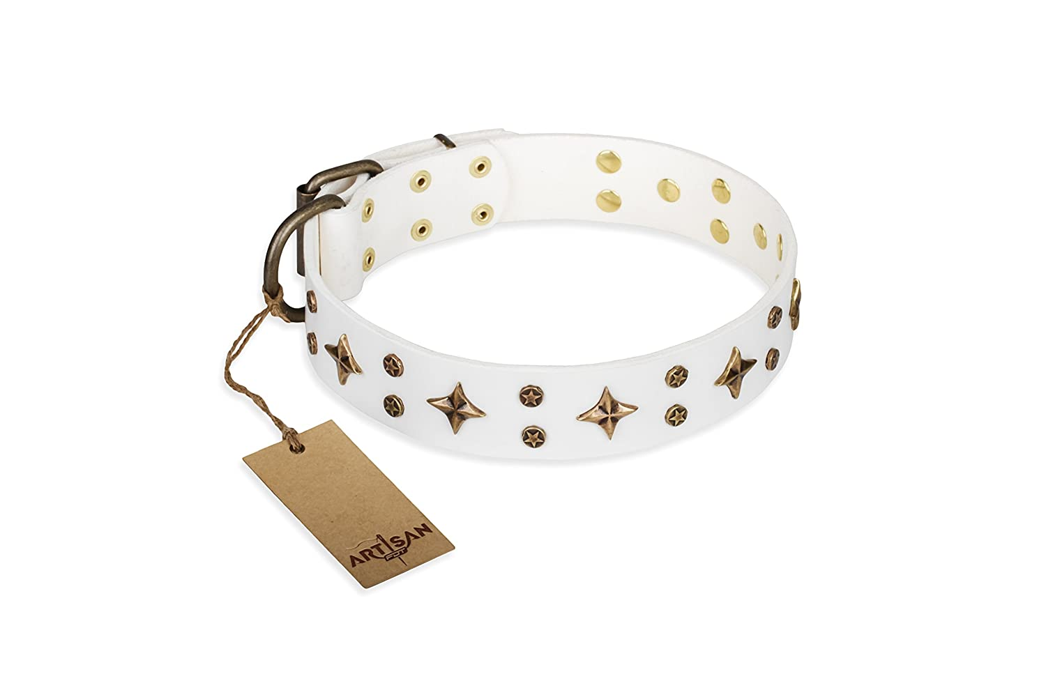 36 inch 36 inch White Leather Dog Collar with Brass Plated Decor  Refined Stars  Handcrafted by Artisan