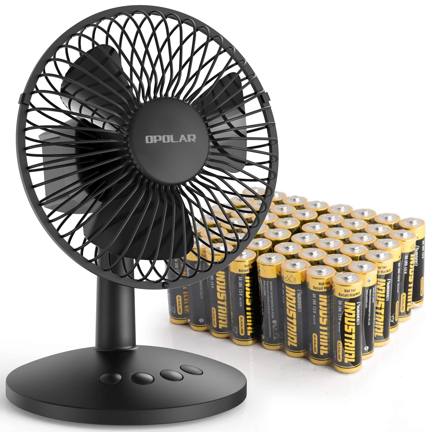 OPOLAR Mini Oscillating Desk Fan, Come with 48 AA Batteries, USB or AA Battery Operated Small Desk Fan, 3 Speeds, Personal Portable Fan with Quiet and Strong Airflow
