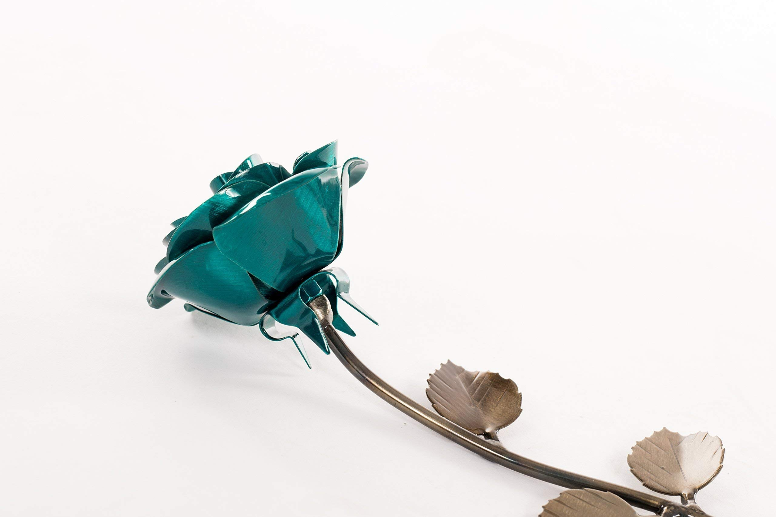 Personalized Gift Hand-Forged Wrought Iron Emerald Green Metal Rose – Valentine's Day Gift