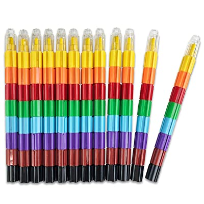 Huji 8-Color Stacking Buildable Crayons Set Kids Favors(Building-Blocks, 12): Office Products