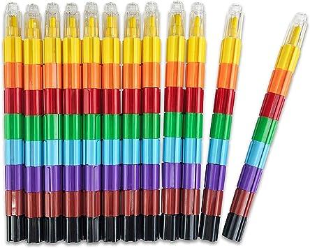 Amazon.com: Conjunto de crayones apilables, construible ...