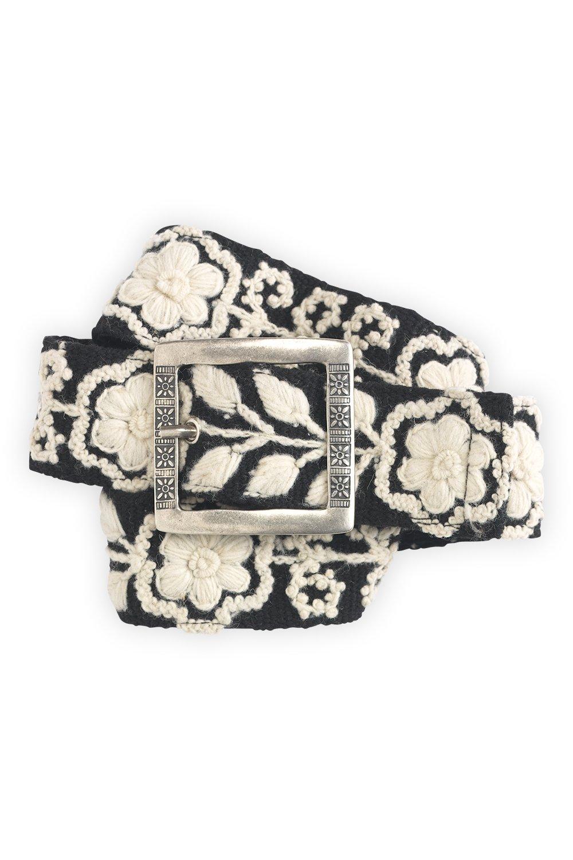 Tey-Art Anne Hand Embroidered Wool Fair Trade Belt (M 28-37, Black)
