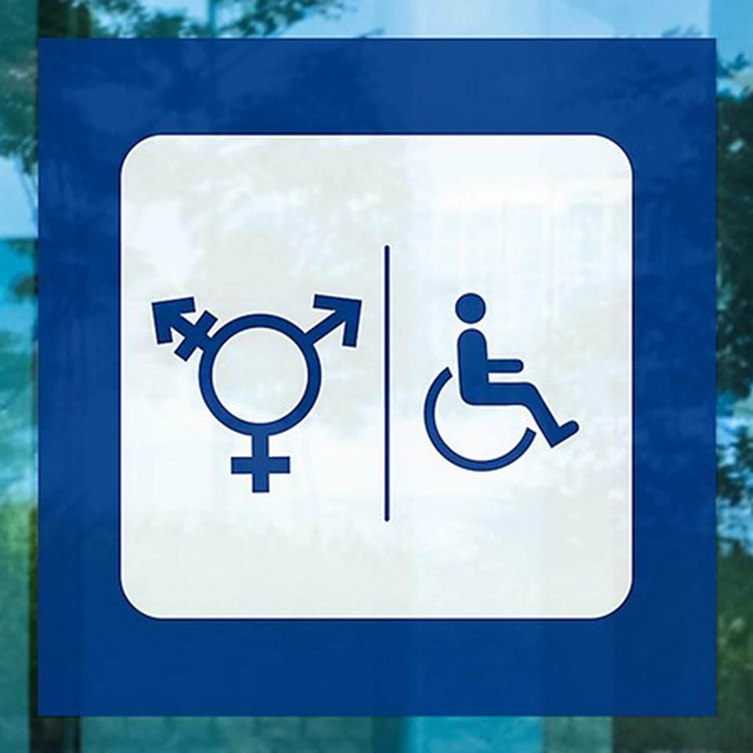 CGSignLab 2439189/_5gfxw/_12x12/_None Transgender /& Handicapped Restroom Symbols in Blue /& White Repositionable Opaque White 1st Surface Static-Cling Non-Adhesive Decal 12 x 12 Vinyl Pack of 5