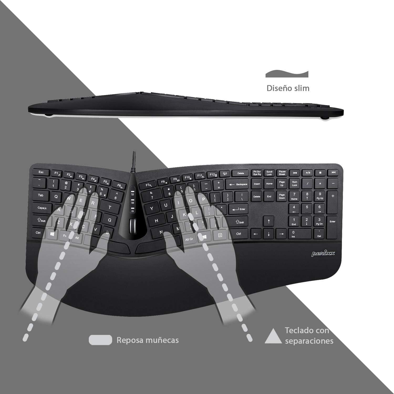 Perixx Periduo-505, Juego de Ratón Vertical y Teclado ergonómico 3D con Disposición de Teclas Dividida, Reposamuñecas Ajustable, Layout Español
