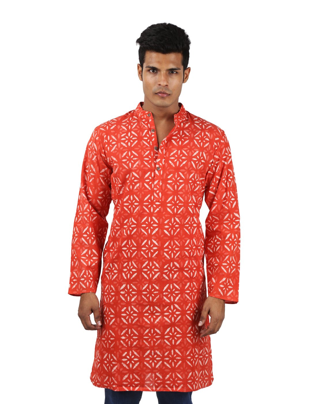 Indian Designer Handmade Cotton Short Mens Kurta Casual Punjabi Traditional Wear Clothing, Dark Peach