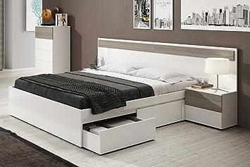 Cabezal con 2 mesitas de noche con cajones color blanco brillo y fresno para dormitorio cama matrimonio (medida: 257cm ancho x 92cm altura x 34cm ...