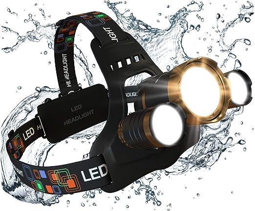 Bright LED Headlamp Flashlight 5-Bulb-Hat Head Light-2 Batteries Inlcuded