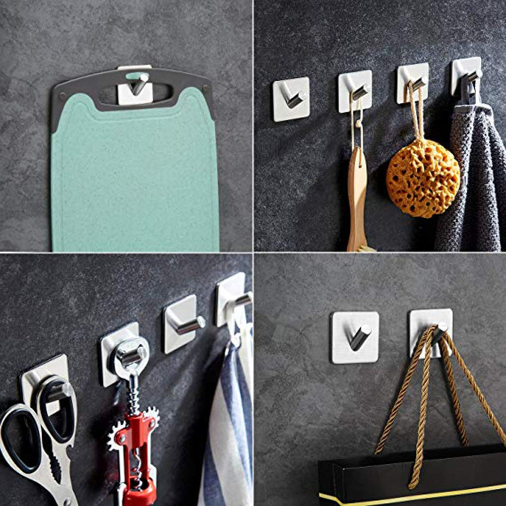 LEVEL 4 Pcs Self Adhesive Wall Hooks Towel Rack Hat Towel Robe Coat Stick-up Stainless Steel Hanger for Kitchen Bathrooms