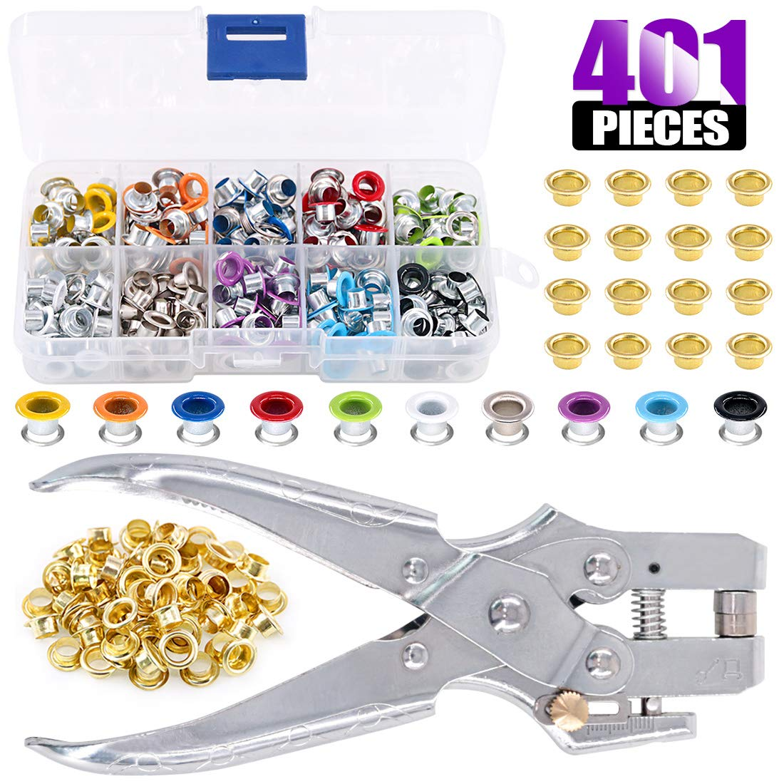 Swpeet 300Pcs 10 Colors 3/16 inch Metal Grommets Kit and 1Pcs Eyelet Hole Punch Pliers with 100Pcs Gold Grommets, Metal Eyelets Kits Shoe Eyelets Grommet Sets for Leather Fabric Belt Clothes by Swpeet