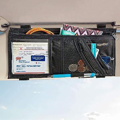 High Road Car Visor Organizer with Adjustable Straps: Automotive