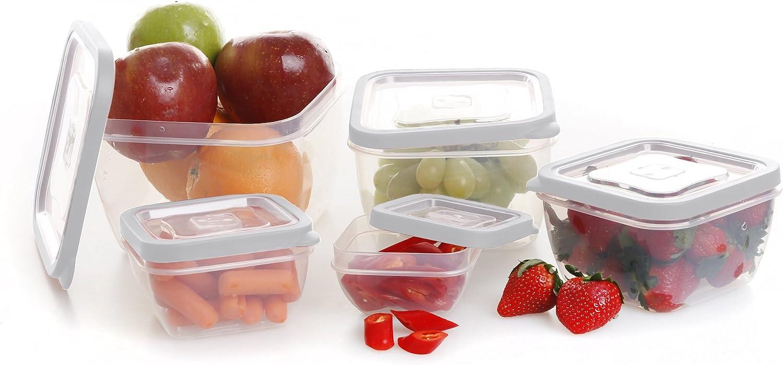 BINO 10-piece Square Plastic Food Storage Set, White