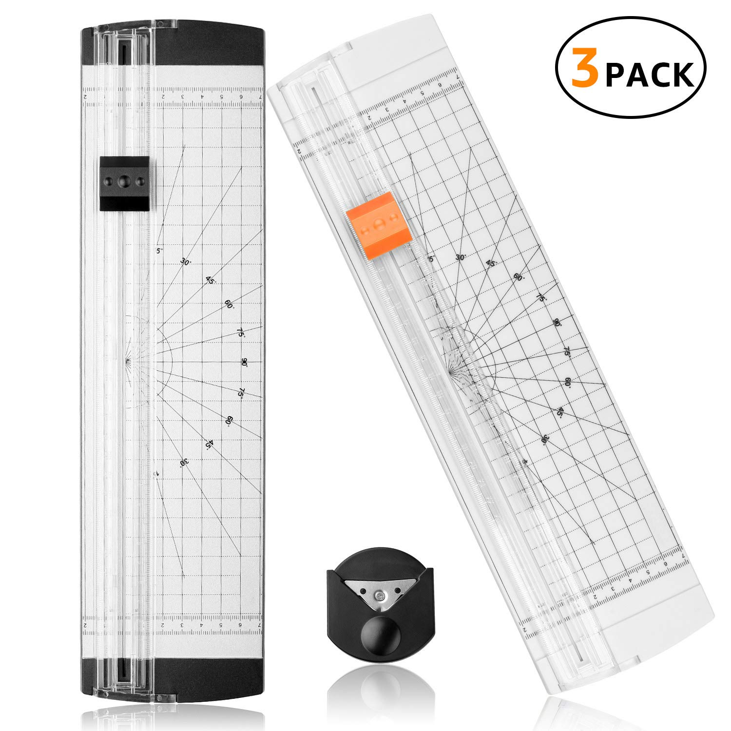 A4 Paper Cutter 12 Inch Titanium Paper Trimmer with Round Corner and Side Ruler for Craft Paper, Photo and Label (3 Packs, White and Black)