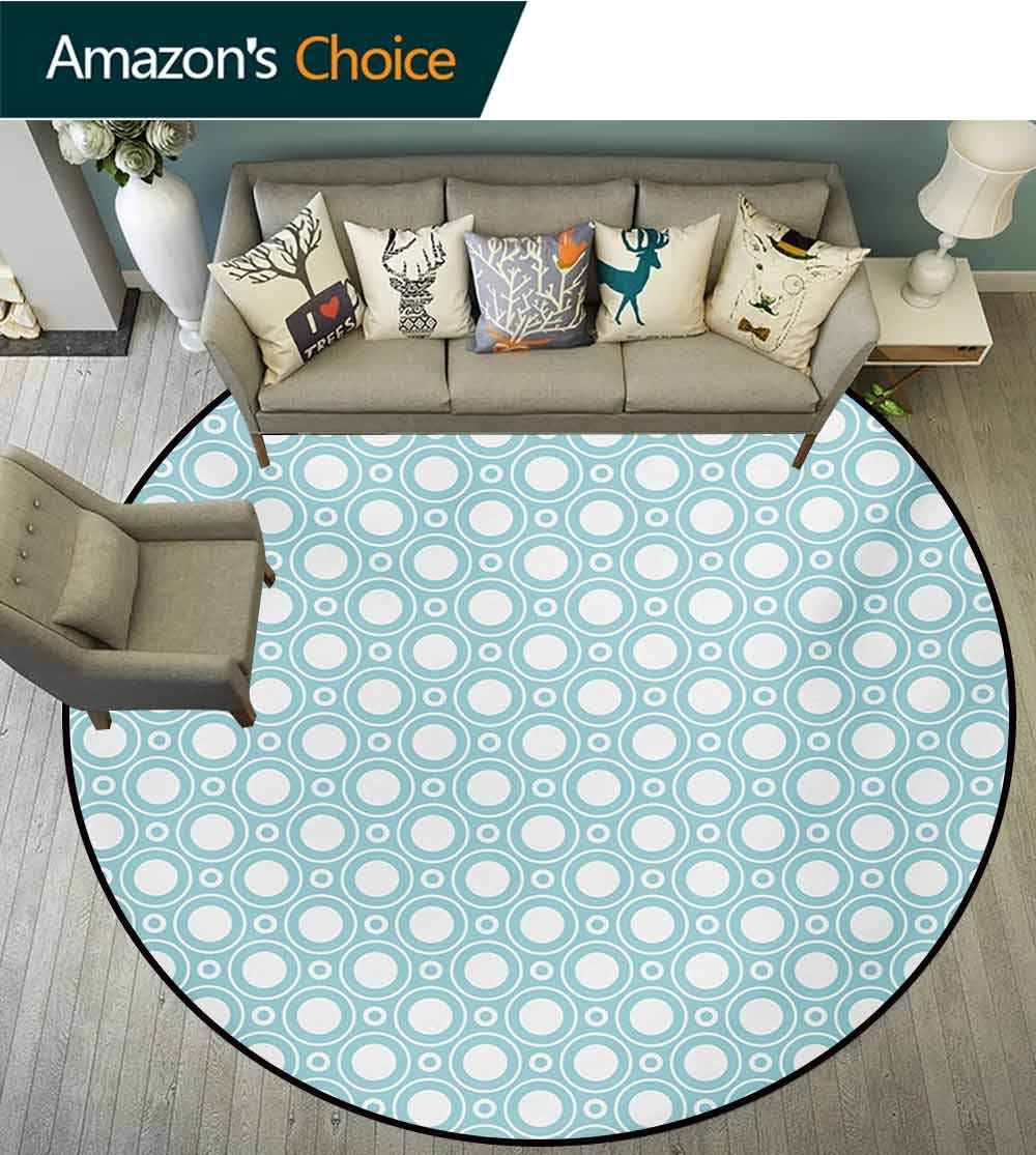 RUGSMAT White Non-Slip Area Rug Pad Round,Graphic Design Detailed Drawings Curvy Rounded Circular Flowers Leaves Wildlife Protect Floors While Securing Rug Making Vacuuming,Diameter-59 Inch