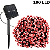 Solar String Lights,SOLMORE 55.8ft /17M 100 LED Solar Outdoor Fairy String Lights Starry Fairy Lights,Ambiance Lighting Waterproof for Holiday Wedding Gardens Home Party Patio Landscape Decor Red