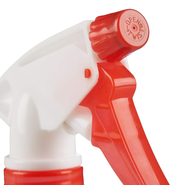 Relaxdays Pulverizador 1 Litro Pl/ástico Set de 3 Unidades Bote Spray con Escala Rojo Espray Boquilla Ajustable