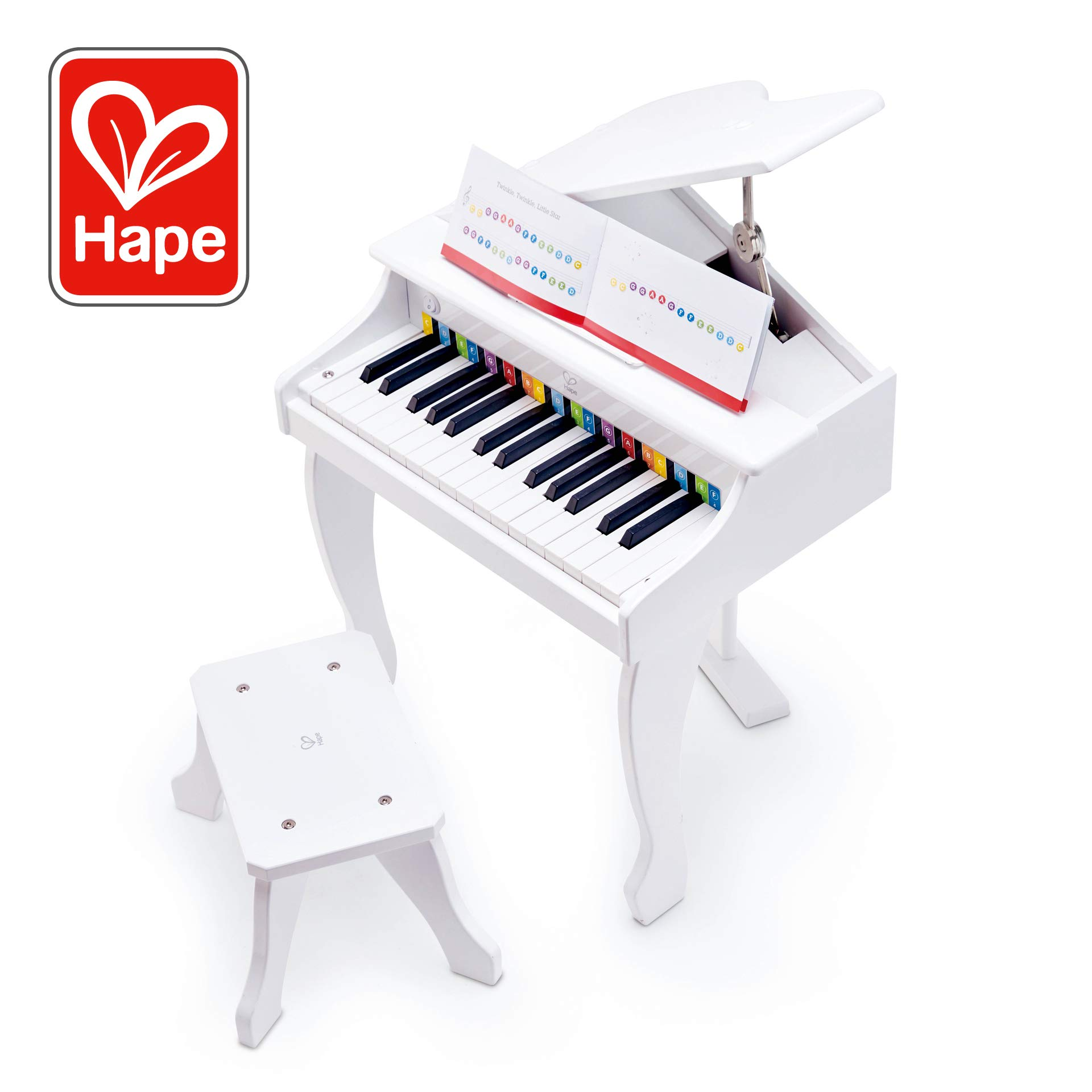 Hape Deluxe White Grand Piano | Thirty Key Piano Toy with Stool, Electronic Keyboard Musical Toy Set for Kids 3 Years+ by Hape
