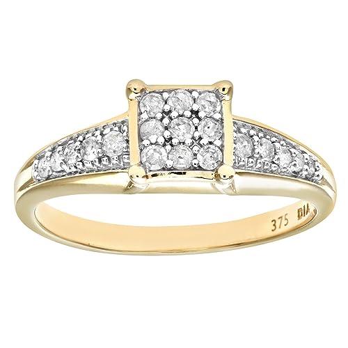 Naava Anillo para Mujer de Oro Amarillo 9K con Diamantes Talla 9.5