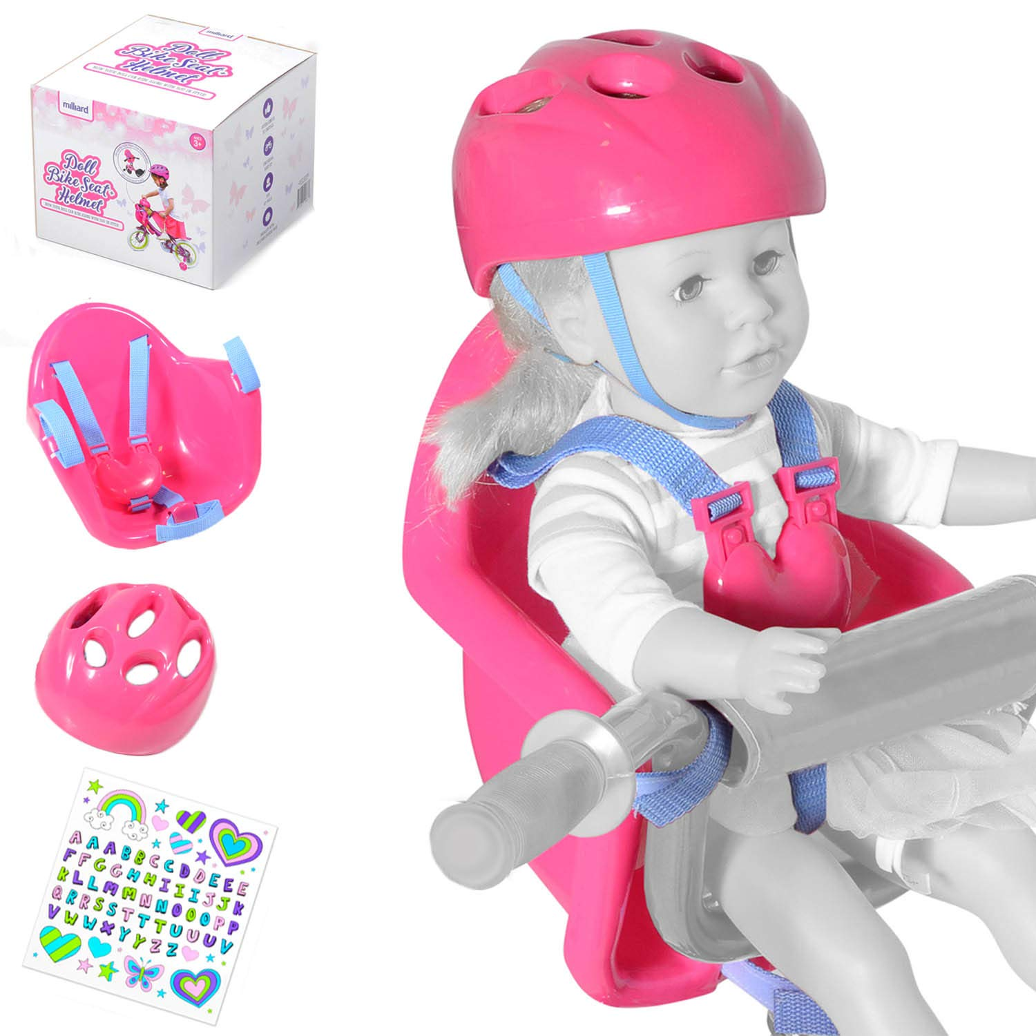 Milliard Doll Bike Seat and Helmet for 18 American Girl Dolls and Stuffed Animals with Decorative Sticker Pack