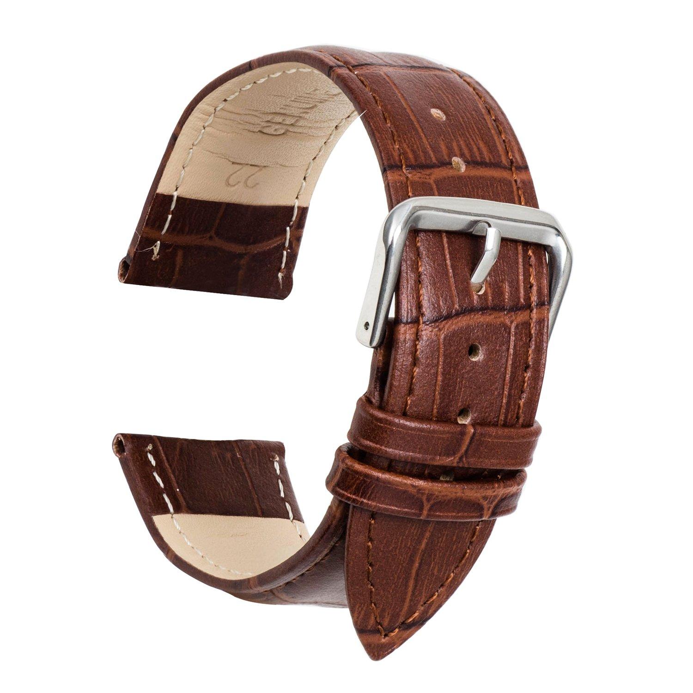 Ullchro 腕時計ストラップ 本革 縁ステッチ 竹柄  – 12 14 16 18 19 20 21 22 24 mm 12mm ディープブラウン 12mm|ディープブラウン ディープブラウン 12mm B077MBT1NL