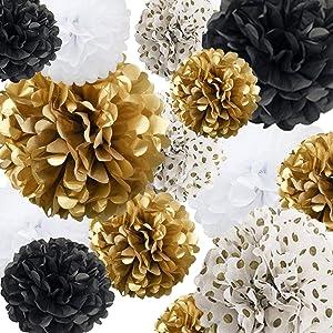Tissue Paper Pom Poms Paper Flower 22Pcs for Birthday Bachelorette Wedding Baby Shower Bridal Shower Party Decoration